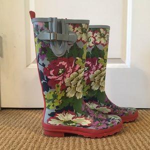 Joules flower rain boots